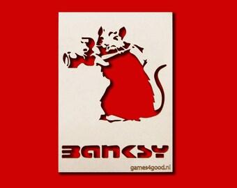 Rat with camera stencil Banksy