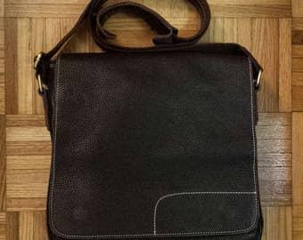 1990's crossbody messanger bag - chocolate brown