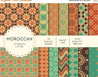 "80% Until New Year - Moroccan digital paper: mint ocher orange and teal mosaic background & chevrons arabesque scrapbook paper · 12x12"" 300d"