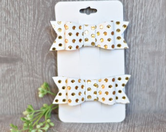 Piggy Pack, Gold and White Polka Dot, Leather hair clips, Leather bow clips