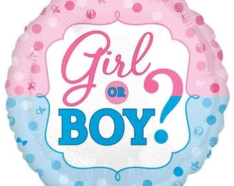 "Girl or Boy Balloon- 17"" Foil Balloon- Gender Reveal Party Balloons"