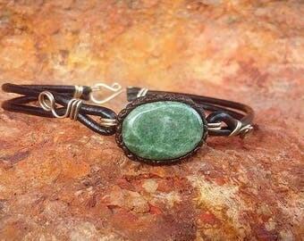 green jadeite jade leather bracelet