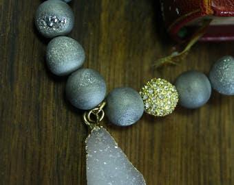 Silver Crystal Geode Stone Bracelet
