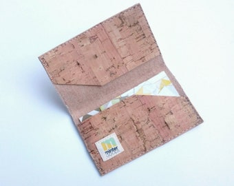 Cork business card case, natural cork fabric
