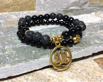 Lotus Buddha bracelet set Onyx lava beads mala bracelet gold