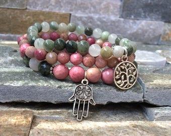 Tree of life Hamsa Lotus bracelet set rhodonite agate