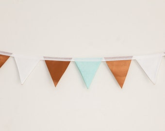 Leatherette Copper and Mint Polka Dot Bunting
