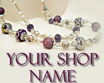 Handmade Jewelry Banner, Jewelry Banner Set, Beaded Jewelry Banner, Shop Banner Set,  Custom Banner, Shop Banner Set, Branding Design