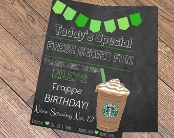 Starbucks Chalkboard Birthday Invite DIGITAL DOWNLOAD
