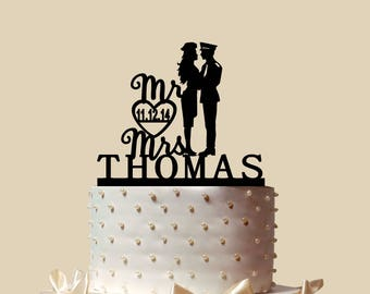 Policeman And Woman Cook Cake Topper, Personalized Cake Topper, Wedding Cake Topper,  Shower Topper, Wedding Decoration, Silhouette,  CT188