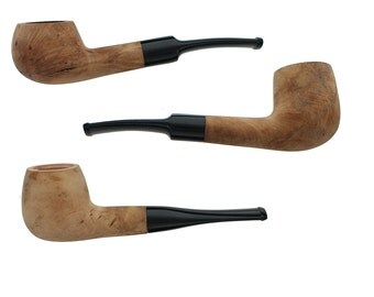 Briar Tobacco Pipes - Assorted 3 Pack of Straight Stem Smoking Pipes with Unfinished Bowls