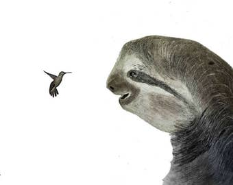 Sloth and hummingbird pencil drawing Print, Original drawing A2 print, Black and white Sloth and bird, highly detailed animal drawing