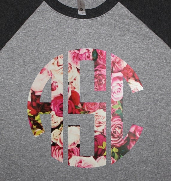 Custom Monogram Raglan - Rose Pattern Vinyl