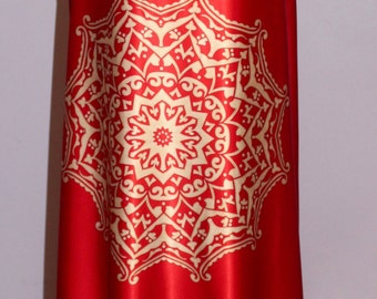 Silk fabric the yard/ wedding dress fabric/red silk with paisley motif, dress fabric, occasion dress material