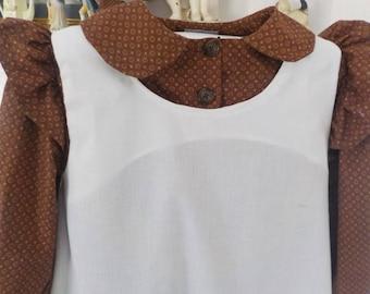 Girls 7-8 pioneer -prairie dress[ Ready To Ship ]