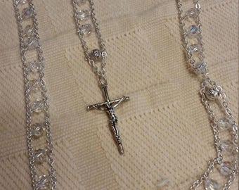 Aurora Borealis crystal and Silver Ladder rosary