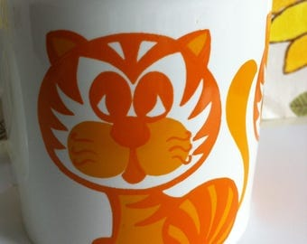 Retro Staffordshire Pottery Cat Mug, Mid- century, orange, brown, Made in England. Vintage Ceramics