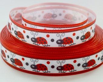 "7/8"" Ladybug Grosgrain Ribbon"