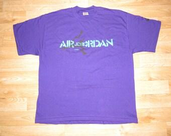 Vintage Nike Air Jordan 80s USA Gray Tag Large Jump Swoosh PURPLE
