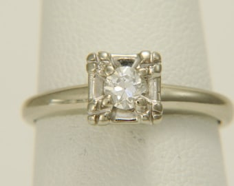 Vintage Old European Cut Diamond Solitaire Ring 14K White Gold Size 5