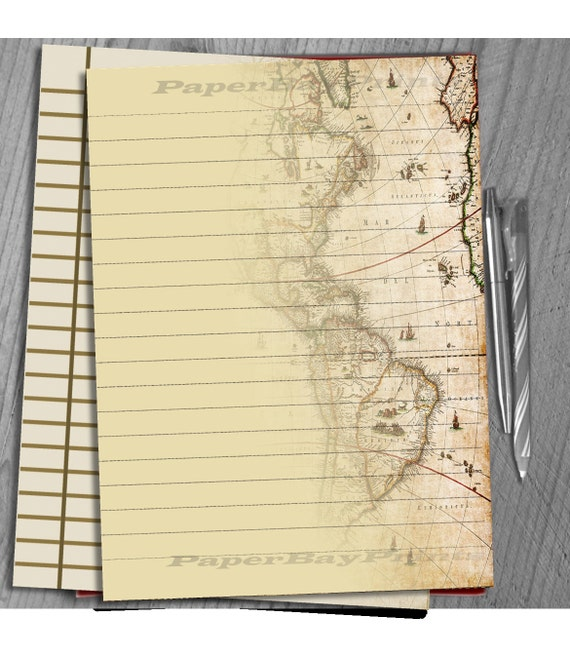 Printable Writing Paper, Vintage Map Print, Scrapbook Paper, Background,  Lined Paper Template From PaperBayPrints On Etsy Studio  Print Writing Paper