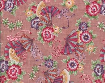 Asian Fan & Floral Fabric, 1 yard