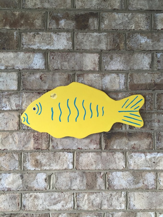 Hand painted fish wood outdoor decor