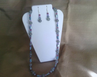 163 Beautiful Turquoise Czech Glass Rectangles and Large Jade Style Glass Beads Beaded Necklace