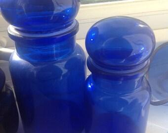 1970 Blue Glass Jars, Set of 2, vintage, retro design, quirky design , home decor.