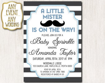 Oh, boy! Baby Shower invitations, Baby Sprinkle Invitation, Little mister invitation, Black and white stripes, Mustache - Boy - 0064