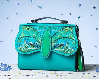 Coloured Symphony - Royal Crossbody Bag   Handmade, Eco Leather Bag, Leather, Birds Print, Turquoise, Blue, Peacock print, Flowers