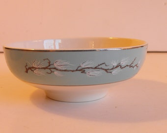 Three Rice Bowls Teal Handpainted Branch with White Sprigs     (732)