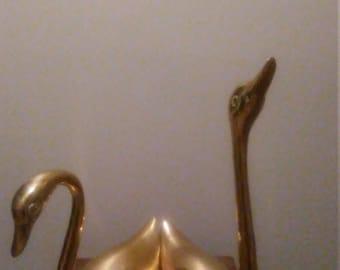 Pair of vintage/antique brass swans