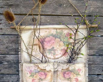 Fabric Organizer Shabby Chic Country Rustic flower wall decor Wall Hanging Home Nursery Vintage Style Handmade Textile