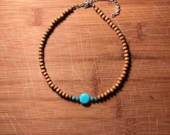 Beaded Choker- •Wooden Turquoise•