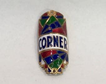 European Bicycle Enameled Name Plate for Corner Bicycles, Art Deco, Ca: 1920s.