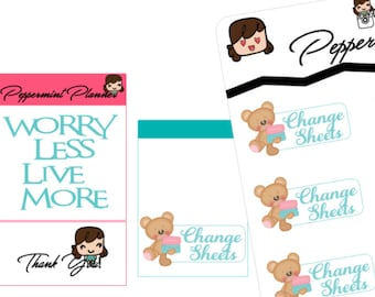 Teddy Bear Change Sheets Planner Stickers {#188}