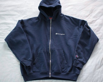Vintage 90s Champion Hooded zip up sweatshirt Size M Spellout