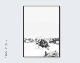 Mountain Print - Landscape Photography, Landscape Wall Decor, Modern Minimalist Wall Art, Black and White Prints