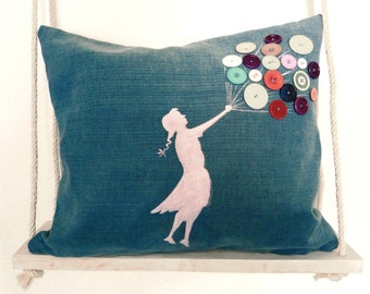 Cushion With Girl And Buttons, Pillow With Balloons,Hand Painted,Unique Design,Decorative Pillow,Designer Pillow,Insert Included