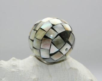 Unique bead, handmade, for jewelry making, mother of Pearl shell bead, mosaic, 20 mm