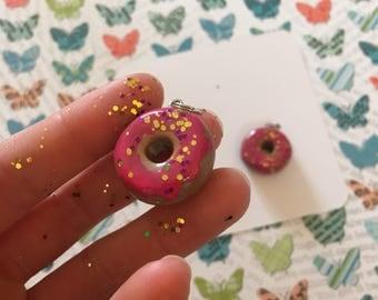 Cute polymer clay donut charm