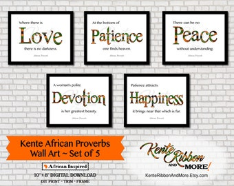 "DIY - Printable Kente African Proverbs WALL ART - Set of 5 - Trim to 10""x8"" - Digital Download Zip File"