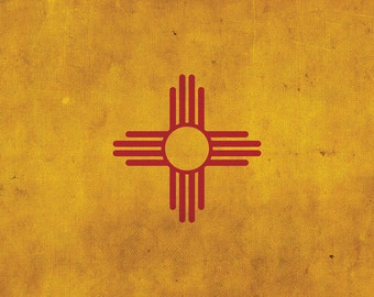 Vintage New Mexico  Flag on Canvas, New Mexico Flag, Wall Art, New Mexico Photo New Mexico Print, Single or Multiple Panels