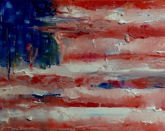 American Flag Painting Canvas Abstract Independence Day Gift Patriotic Painting Oil Painting Abstract Art Work Ukrainian Art Wall Art Canvas