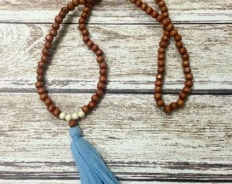 Light blue tassel necklace