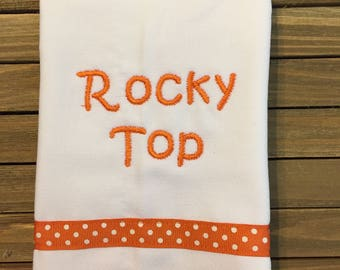 Tennesee. Rocky Top. College Baby Burp Cloth