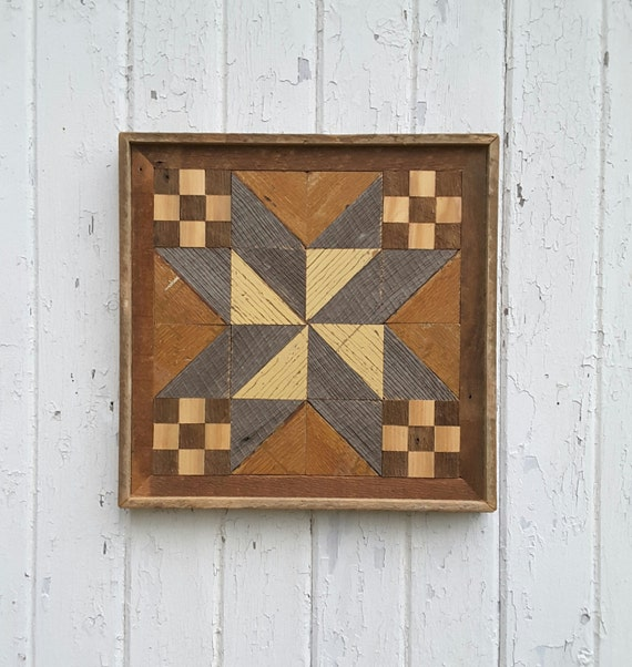 Reclaimed Wood Wall Art Geometric Wood Quilt Block