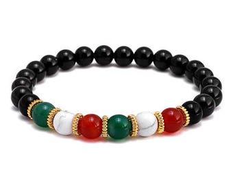 Red/White/Green Beaded Bracelet for Men | BraceletsDR