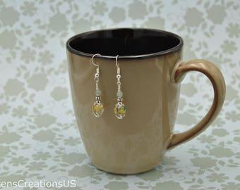 Yellow / Green Drop Earrings - Item 200